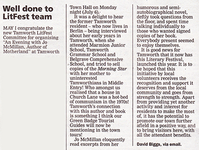 Letter to Tamworth Herald